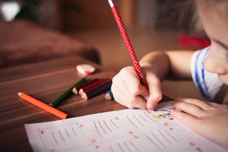 Niña escribiendo en agenda o cuaderno
