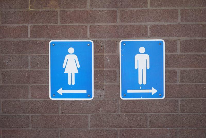 Señales de WC masculino y femenino sobre ladrillo
