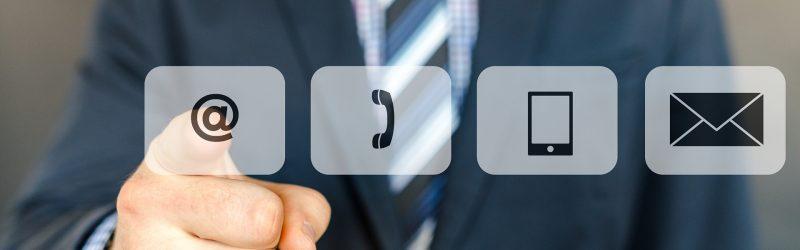 logotipos de diferentes redes sociales: email, teléfono, móvil, etc...